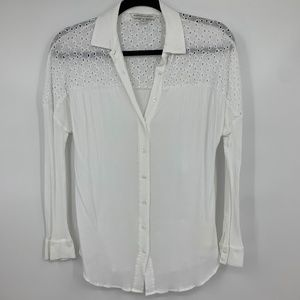 Rebecca Minkoff XS blouse button front eyelid